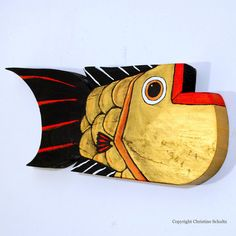 Wood Fish Art Painted Gold And Red