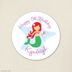 Mermaid Party Stickers - choose your mermaid's hair color and skin tone!