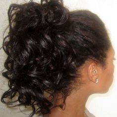 Curly ponytail on relaxed hair. Done using bantu knots