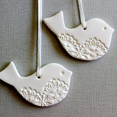 Lacey Bird Ornaments - Christmas Decoration, Tag, Keepsake, White Clay, Home Decor