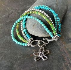 Five Strand Turquoise Bracelet With Silver by DianesAddiction