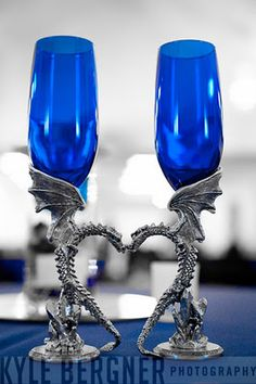 Bride and Groom's pewter dragon toasting flutes with blue glass