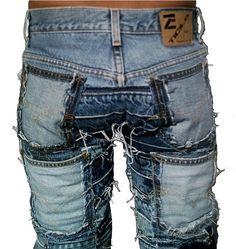 Rocker queen hardcore unique handmade patch jeans pants pants and jeans 6 Diy Jeans, Jeans Refashion, Recycle Jeans, Jeans Pants, Patchwork Jeans, Denim Quilts, Patched Jeans, Ripped Jeans, Punk Jeans