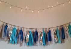 Frozen Themed Tissue Tassel Banner / Garland w/ Silver