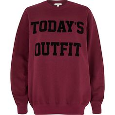 Red today's outfit print sweatshirt #riverisland