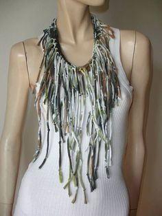 womens shredded braided fringed upcycled recycled tshirt necklace, jersey necklace. brown green tiedye. bohemian boho chic. burning man.