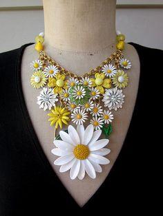 Vintage Enamel Flower Bib Statement Necklace  Daisy by rebecca3030.etsy.com
