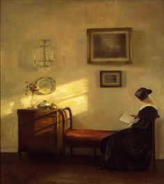 Carl Vilhelm Holsøe (Danish artist, 1863-1935) Woman Reading