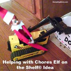 Helping with Chores Elf on the Shelf® Idea - A great way to teach pet responsibility too!