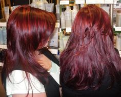 ready for red in all the right places... we love the Aveda red color and bright red highlights!
