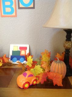 Fall baby shower with transportation theme mixed in