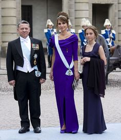 (L-R) King Abdullah II of Jordan with wife Queen Rania, who stunned in a deep purple gown with a cowl neck, while her daughter Princess Iman wore midnight blue, at the wedding of Crown Princess Victoria of Sweden to Daniel Westling back in June 2010 the 14-year-old daughter was already showing signs of following her mother's fashionable footsteps.