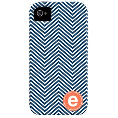 I pinned this Skinny Chevron Monogrammed iPhone 4 Case in Navy & Coral from the Happy Habitat event at Joss and Main!