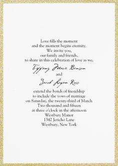 Gold Glitter Framed Wedding Invitation Goldwedding Goldglitter Fallwedding Invitationsbydawn