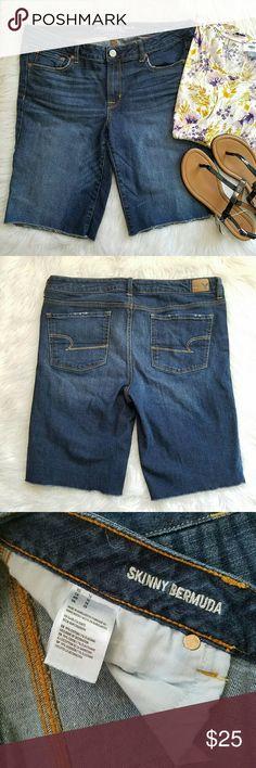 "American Eagle Bermuda Shorts American Eagle Outfitters.  Size 16. ""Skinny Bermuda"" style blue jean shorts. Perfect condition! American Eagle Outfitters Shorts Jean Shorts"