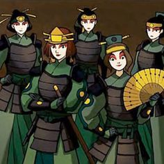 Kyoshi Warriors - A group of woman warriors in the tradition of one of the female lives of the Avatar, they are powerful and feminine at the same time. Suki And Sokka, Suki Avatar, Avatar Kyoshi, Korra Avatar, Team Avatar, Female Warrior Names, Female Warriors, Warriors Game, Kyoshi Warrior