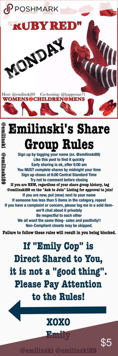 """Monday Shoes Group Shoes only Share Group!   Share 5 listings from each closet signed up!   Please finish shares by midnight your time. When you're done, sign out or the group will assume you didn't share.  If you have any problems- tag me @emilinski89.  Please read the rules!!   If you're new- ask to join on the """"ask to join"""" listing! Shoes"""