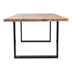 This modern and designer Pyrmont rectangular dining table is designed with a solid wooden and timber top and black steel metal legs. urban coutour