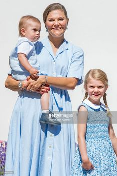 Crown Princess Victoria of Sweden, Princess Estelle of Sweden and Prince Oscar of Sweden is seen meeting the people gathered in front of Solliden Palace to celebrate the 40th birthday of Crown Princess Victoria of Sweden on July 15, 2017 in Borgholm, Sweden.