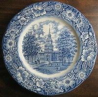 Don't BE blue, decorate WITH Blue Plates. So many classic designs incorporate blue and you can give punch to your room with lovely blue plates. Blue Dinner Plates, Blue Plates, White Plates, Blue And White China, Blue China, Horse Couple, Independence Hall, Liberty Blue, Vintage Plates