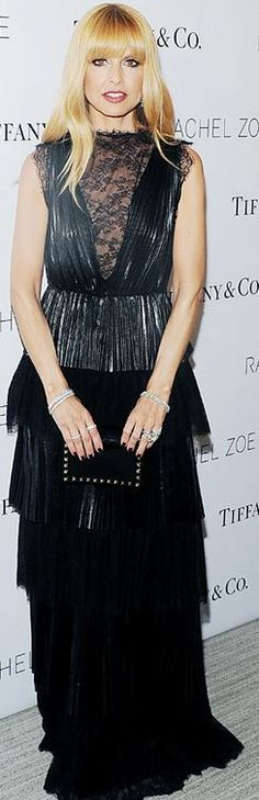 Who made  Rachel Zoe's black pleated lace gown?