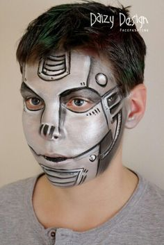 Robot face paint schminkdesign by Daizy Design