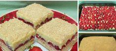 """Sypaný koláč """"Bez těsta"""": Stačí jen nasypat na plech, uložit ovoce a více se nemusíte starat! No Bake Cake, Cornbread, Sandwiches, Cheesecake, Dairy, Pudding, Menu, Treats, Cookies"""