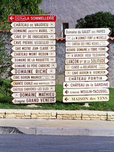 Photographic Print: Road Signs to Wine Producers in Chateauneuf-Du-Pape, France by Per Karlsson : French Wine Regions, Culture Of France, Funny Road Signs, Chateauneuf Du Pape, Local Activities, Wine And Spirits, Oh The Places You'll Go, Wine Recipes, Provence