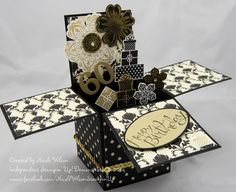 Stampin Up 3D Card in a box 60th birthday card. Black and Gold theme using Modern Medley paper, Flower Shop stampset, petite petals stampset and matching punches and the prezzys are  the Wishing you set - now retired from the Christmas Holiday Catalogue, Sassy Salutations is the birthday wording  www.facebook.com/NicoleWilsonStampinUp