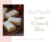 No-Bake Lemon Coconut Slice Lemon Coconut Slice, Lemon Frosting, Finger Foods, Make It Yourself, Baking, Recipes, Lemon Glaze Icing, Finger Food, Bakken