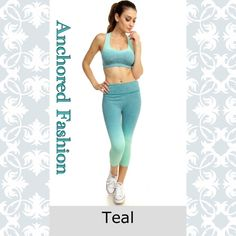 ⚓️Padded Sports Bra and Cropped Legging Set⚓️ This Ombré set is mint and teal. Made from nylon, spandex and polyester and is moisture wicking. Fits true to size. ⚓️️PRICE IS FIRM UNLESS BUNDLED⚓️ Other