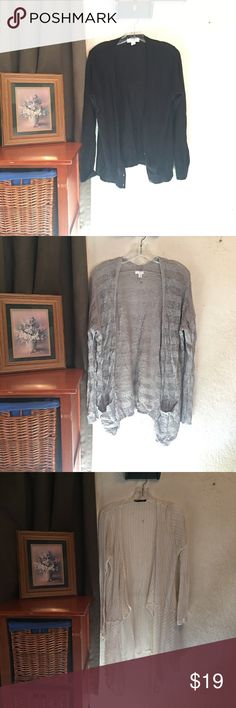 Cardigan bundle😊 Black-Forever 21 size Large, new never worn.       Gray-BP size XL, wore three times.                          White-random boutique brand size M, wore once. Sweaters Cardigans