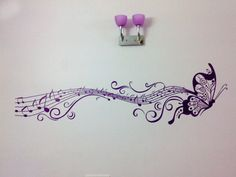 Musical Butterfly Wall Decal Butterfly Wall Decals, Music Wall Art, Nail Holes, Girl Decor, All Wall, Home Deco, I Tattoo, Make It Yourself, Kids Rooms
