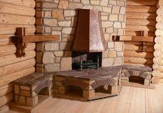угловой камин встроенный в деревянную стену
