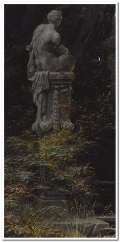 Ferdinand Knab (German, 1834-1902), A Woman at the Fountain with Rising Moon, 1866 - detail