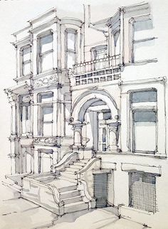 Illustration of apartment building in city with stairs and arched entry