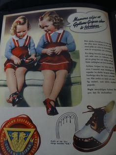 """""""Mamma säjer att Gyllene Gripen-skor är fotriktiga..."""" Malmö skofabrik I Malmö läderfabrik I Eslövs skofabrik I 1945"""