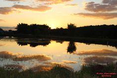 por do sol. - Por do sol no lago.
