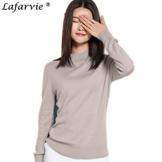 Lafarvie 2017 Cashmere Blended Knitted Sweater Women Tops Fashion Slim Turtleneck Female Pullover Autumn Winter Warm Solid Color #Affiliate