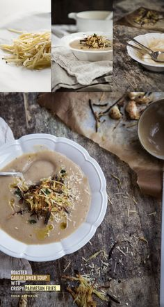 Roasted Cauliflower Soup With Crispy Parmesan Fries