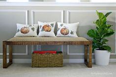 A DIY Fall craft: How to make pillows from a table runner.