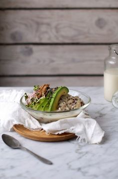 energy powerful porridge mix with avocado, sprouts, nut butter, sesame & poppy seeds