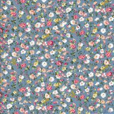 Tissu Coton imprimé petites fleurs crème et rose sur fond gris