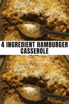 Looking for quick and easy dinner recipes for the family? This simple casserole dish is perfect for busy weeknights, picky eaters and hungry husbands! It's not only delicious, it's also budget friendly, easy to make and a family favorite. It's made with just ground beef, pasta shells, tomato soup, cheese and seasoning to taste. Yum! #casserole #recipe Hamburger Casserole, Casserole Recipes, 4 Ingredients, Dinner, Crock Pot Recipes, Dining, Hamburger Hotdish, Food Dinners, Dinners