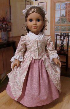 1770's En 'Forreau Gown Petticoat Fichu Pinner by KeepersDollyDuds