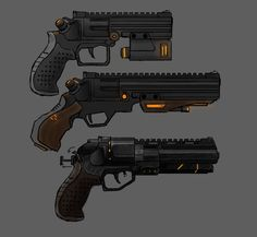 Hybrid Pistol -Mag fed receiver and revolver cylendar, -Adaptive receivers, -Waterproof and lightweight, -Lock-in holster Anime Weapons, Sci Fi Weapons, Weapon Concept Art, Fantasy Weapons, Weapons Guns, Guns And Ammo, Cyberpunk, Hand Cannon, Future Weapons