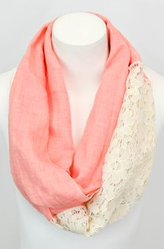 Peach Lace-Panel Infinity Scarf