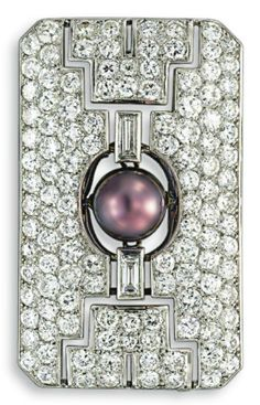 Artr Deco Brooch, designed as a circular, old European & baguette-cut diamond rectangular pierced plaque, set with a natural greenish gray pearl, measuring approx 9.64 mm, mounted in platinum, ca 1925.