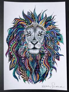 Hand Drawn and Painted tribal lion print only $30 by KsinklerArt on Etsy
