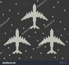 Vector contrast avia card with knitted airplanes on a dark night background, minimalistic style Knitting Charts, Baby Knitting Patterns, Baby Patterns, Cross Stitch Designs, Cross Stitch Patterns, Filet Crochet, Knit Crochet, Night Background, Tricot
